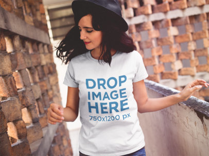 Hipster Girl in an Abandoned Building Wearing a Tee Mockup a11821a