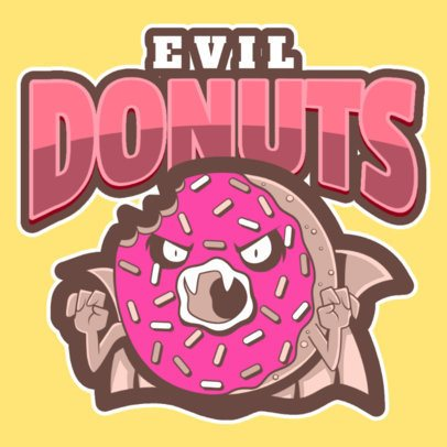 Sports Logo Template with an Evil Donut Clipart a484q-2926