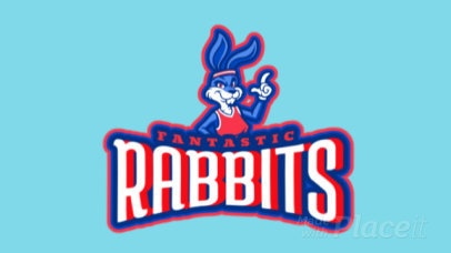 Animated Sports Logo Template Featuring a Bunny Character Graphic 1748p-2933