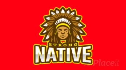 Animated Logo Template Featuring a Native American Chief Illustration 1749q-2932