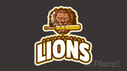 Animated Cricket Logo Maker Featuring a Fierce Lion Mascot 1651m-2927