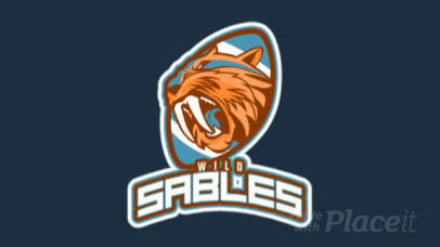 Animated Football Logo Template With a Saber-Toothed Cat Illustration 245tt-2937
