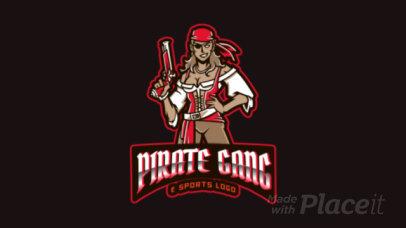 Gaming Team Animated Logo Creator Featuring a Fierce Female Buccaneer 2811bb-2927