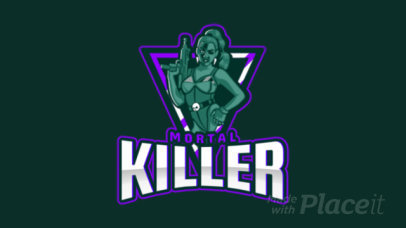 Animated Logo Generator for Female Gamers Featuring a Tough Woman Illustration 2449kk-2931