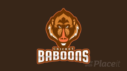 Animated Cricket Logo Maker Featuring a Wild Baboon 1649j-2937