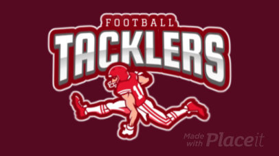Animated Sports Logo Maker Featuring a Football Player 1619n-2931