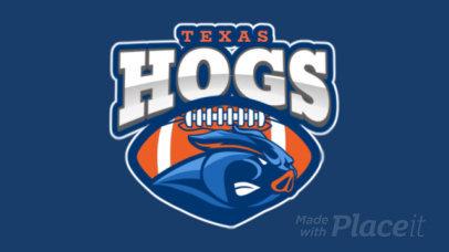 Animated Football Logo Creator with a Hog Illustration 1619o-2931