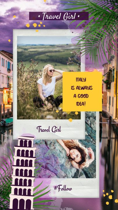 Instagram Story Template Featuring a Collage with an Italian Theme 1949h-2237