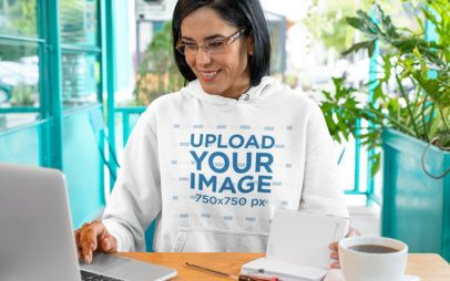 Hoodie Mockup Featuring a Woman Working at a Restaurant 32080