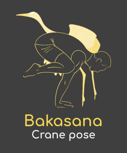 T-Shirt Design Maker with a Man in a Bakasana Pose by a Crane Bird Graphic 2228g