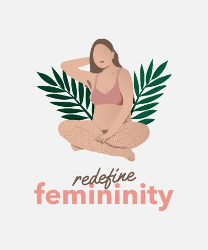 Body Positivity T-Shirt Design Template Featuring a Woman Redefining Femininity 2226h