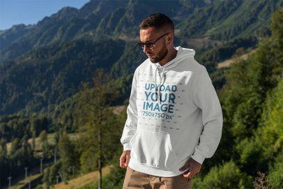 Hoodie Mockup of a Bearded Man Hiking at the Mountains 2769-el1
