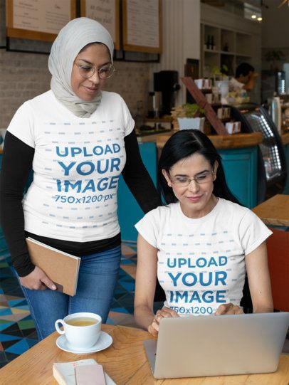 T-Shirt Mockup Featuring Two Women Working Together at a Restaurant 32073