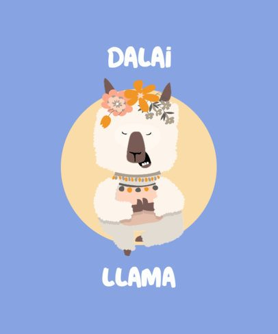 T-Shirt Design Template with a Cute Llama in a Yoga Pose 250a-el1