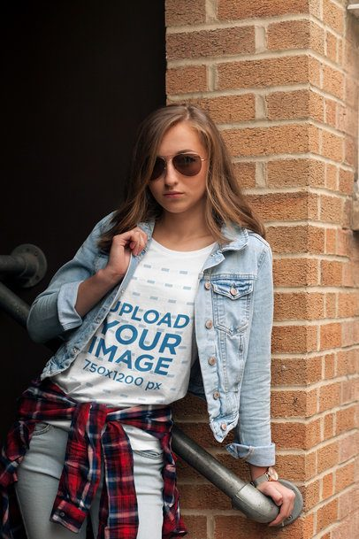 T-Shirt Mockup of a Fashionable Young Woman 2760-el1