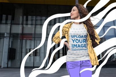 T-Shirt Mockup of a Wavy-Haired Woman Standing Outside a Modern Building 24662