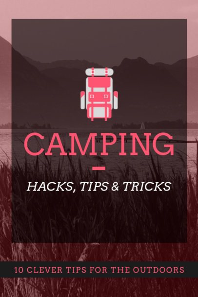 Pinterest Pin Template with a Backpack Graphic for a Camping Tips Post 2246c