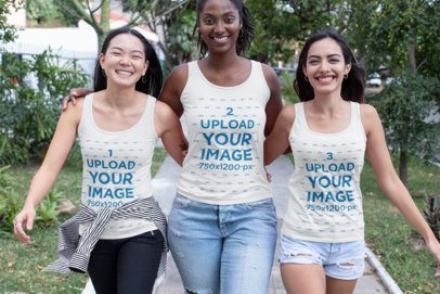 Tank Top Mockup of Three Girl Friends Walking Together 32043