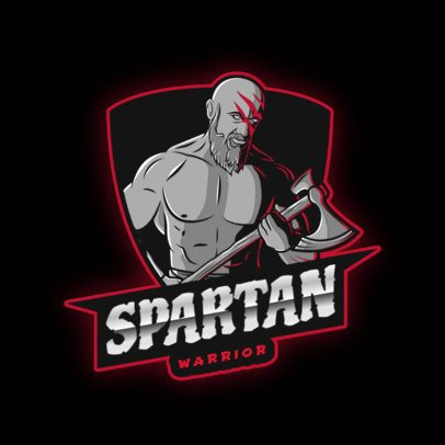 Gaming Logo Template with a Spartan Warrior 2920h