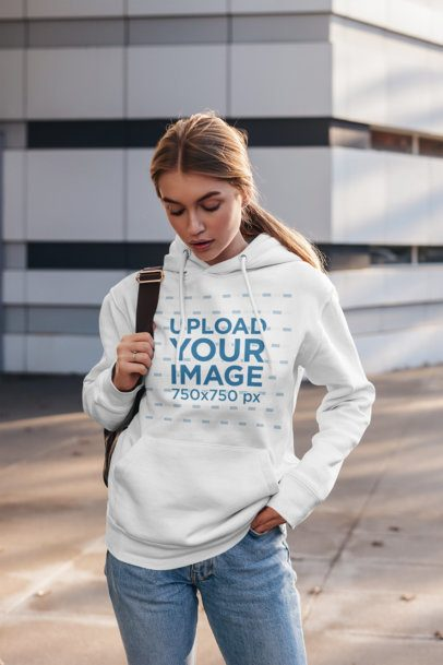 Pullover Hoodie Mockup of a Young Woman Wearing Jeans 2827-el1