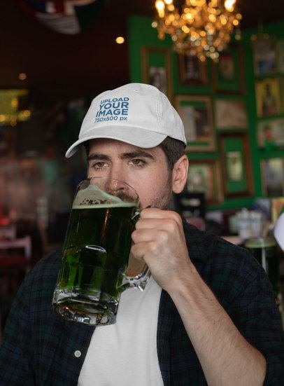 Mockup of a Man Wearing a Dad Hat While Drinking a Beer 32143