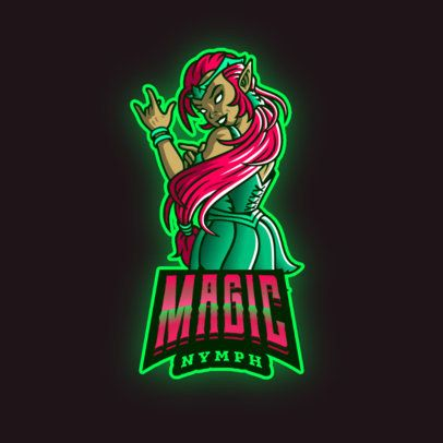 Gaming Logo Template Featuring a Female Magician with a Rock-Sign Hand 2915j