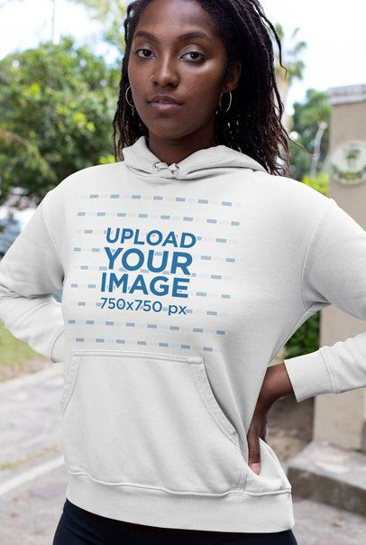 Hoodie Mockup of a Woman with Locks and a Nose Ring 32064