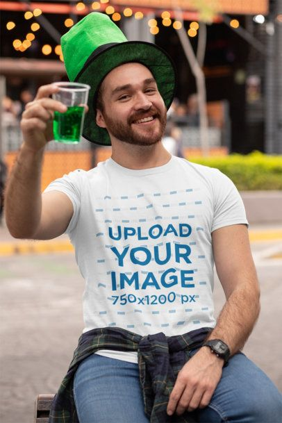 T-Shirt Mockup of a Man at a St Patricks Celebration Drinking a Green Beer 32118