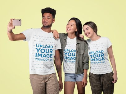 T-Shirt Mockup of a Group of Friends Taking a Selfie at a Studio 25711