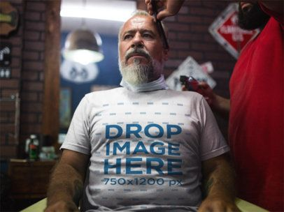 T-Shirt Mockup of an Older Man at a Barbershop a12064