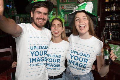 T-Shirt Mockup of Three Friends Celebrating Saint Patrick's Day 32135