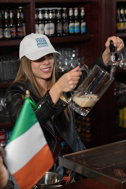 Dad Hat Mockup Featuring a Woman at an Irish Pub 32150