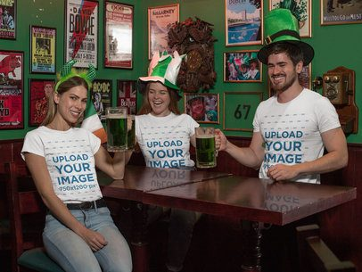 T-Shirt Mockup of a Group of Friends Celebrating Saint Patrick's Day at a Pub 32134