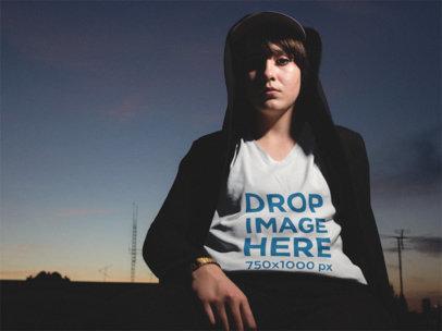 V-Neck T-Shirt Mockup of a Urban Girl Wearing a Black Hoodie a12084