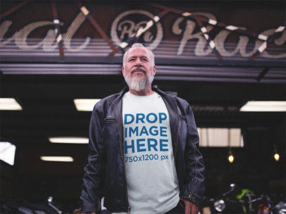 T-Shirt Mockup of a Biker Guy Outside a Garage a12060