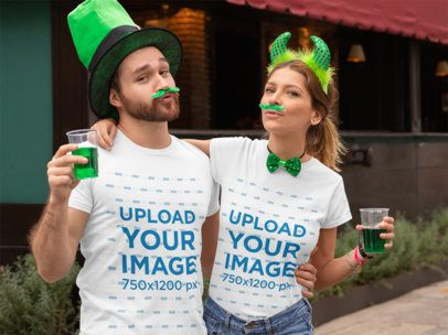 Mockup of a Couple Wearing T-Shirts and Green Accessories for St. Patrick's Day 32116