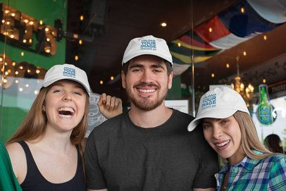 Mockup of Three Friends Wearing Dad Hats on Saint Patrick's Day 32144