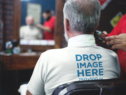 Senior Man at a Barbershop Backside Tee Mockup a12063