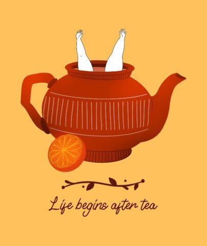 Tote Bag Design Template with a Tea Pot Illustration 2281d