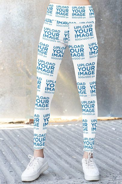 Cropped Face Mockup of a Woman with Sublimated Leggings 31503