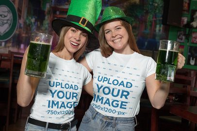 T-Shirt Mockup of Two Friends Wearing St Patricks Day Hats 32137