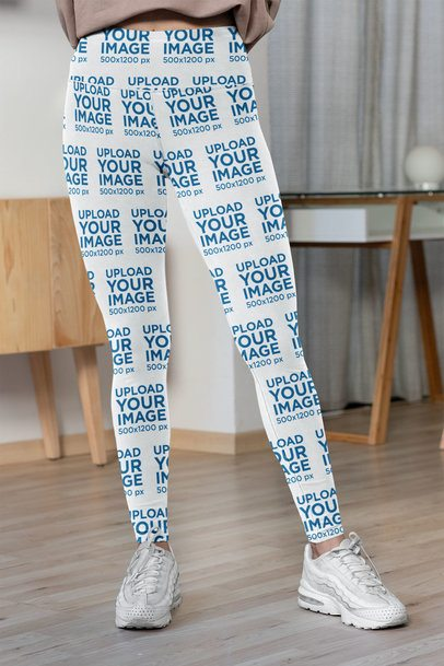 High-Waisted Leggings Mockup Featuring a Woman in Her Room 31519