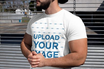 T-Shirt Mockup of a Strong Bearded Man at a Parking Lot 31483