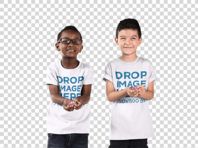 Kid's T-Shirt Mockup Featuring Two Boys Playing Around a12070