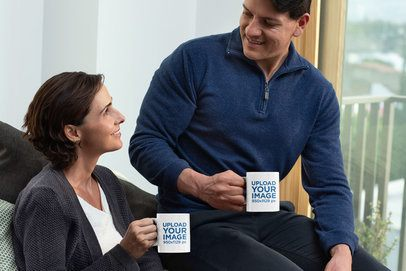 11 oz Mug Mockup of a Middle-Aged Couple Drinking Coffee in Their Home 31694