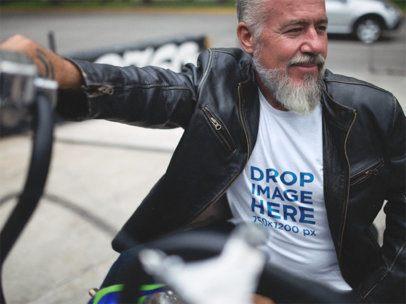 Hispanic Man on His Motorcycle T-Shirt Mockup a12058