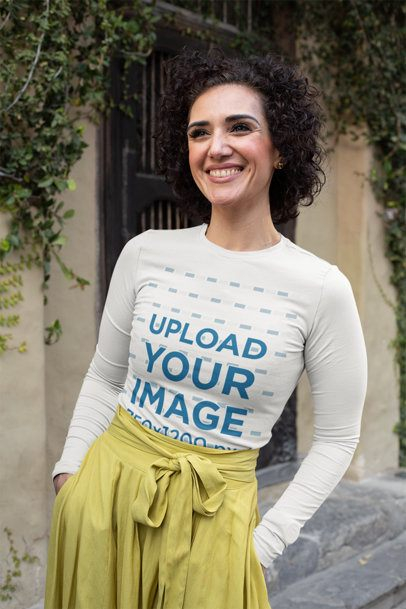 Long Sleeve Tee Mockup Featuring a Short-Haired Middle-Aged Woman 31615