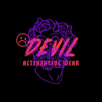 Logo Template for a Streetwear Brand with a Devil Face Graphic 2954A
