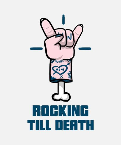 T-Shirt Design Template Featuring a Severed Hand Doing the Rock Sign 2278A
