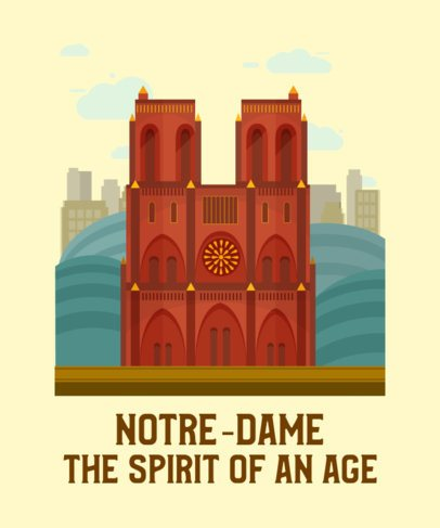 Travel T-Shirt Design Maker Featuring the Notre-Dame Cathedral 2285d